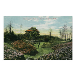 Highland Park's Rhododendron Path and Pavilion Poster