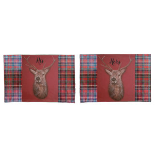 Highland Red Stag & Tartan Pillow Case Set