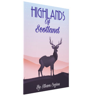 Highlands Of Scotland Stag travel poster Canvas Print