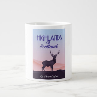 Highlands Of Scotland Stag travel poster Large Coffee Mug