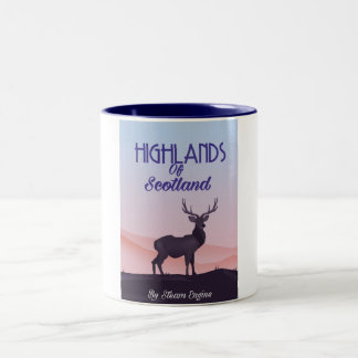 Highlands Of Scotland Stag travel poster Two-Tone Coffee Mug