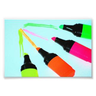 HIGHLIGHTER PENS Neon PINK ORANGE GREEN LIME SCHOO Art Photo