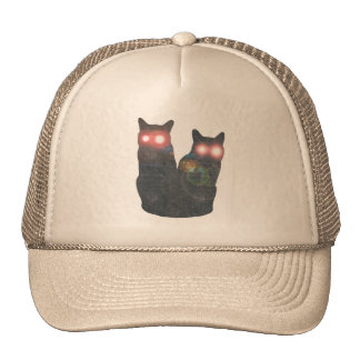 highlited eyes black cats trucker hats