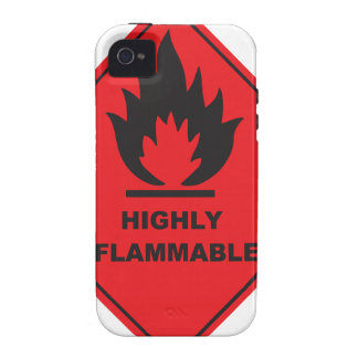 Highly Flammable Sign fire Vibe iPhone 4 Case
