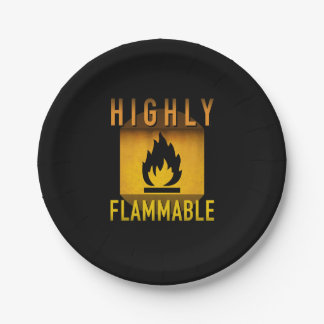 Highly Flammable Warning Retro Atomic Age Grunge : Paper Plate