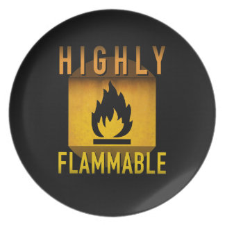 Highly Flammable Warning Retro Atomic Age Grunge : Plate