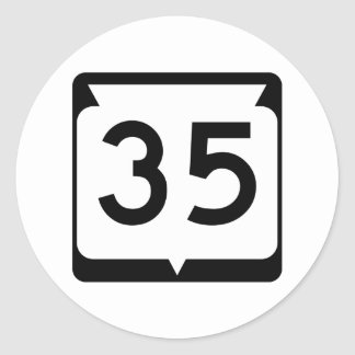 Highway 35, Wisconsin, USA Classic Round Sticker
