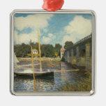 Highway Bridge at Argenteuil, Monet, Vintage Art Silver-Colored Square Decoration