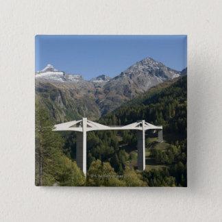 Highway bridge in the Alps 15 Cm Square Badge