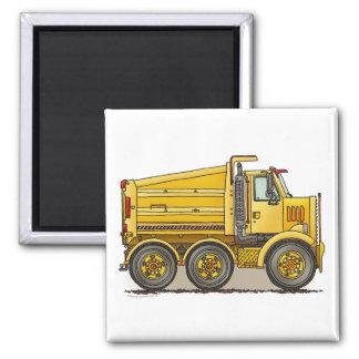 Highway Dump Truck Square Magnet