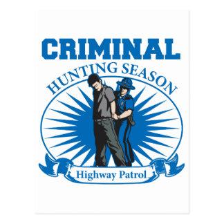 Highway Patrol Criminal Hunting Season Postcard