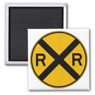 Highway-Rail Crossing, Traffic Warning Sign, USA Magnet