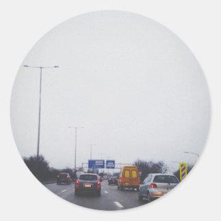 Highway Round Sticker