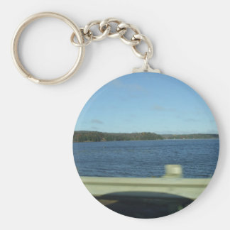 Highway Water Scene Basic Round Button Key Ring