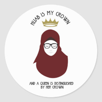 Hijab is my crown - GLASSES Classic Round Sticker