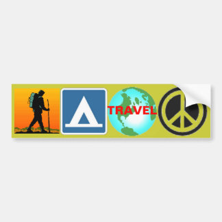 Hike, Camp, Travel, Peace Car Bumper Sticker