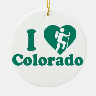 Hike Colorado Round Ceramic Decoration