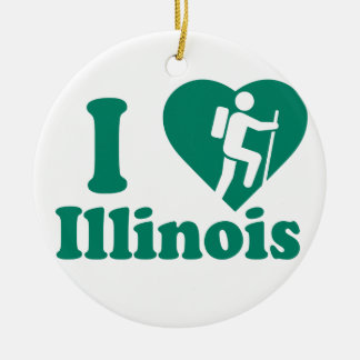 Hike Illinois Round Ceramic Decoration
