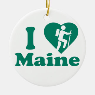 Hike Maine Round Ceramic Decoration