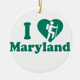 Hike Maryland Round Ceramic Decoration