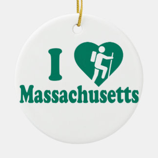 Hike Massachusetts Round Ceramic Decoration