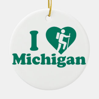 Hike Michigan Round Ceramic Decoration