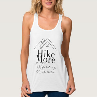 Hike More Worry Less | Geometric Mountian Flowy Racerback Tank Top