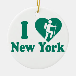 Hike New York Round Ceramic Decoration