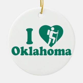Hike Oklahoma Round Ceramic Decoration