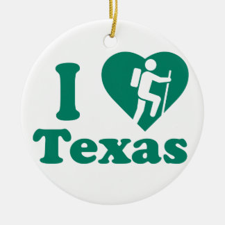 Hike Texas Round Ceramic Decoration