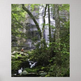 Hiker admires Falls Branch Falls Poster