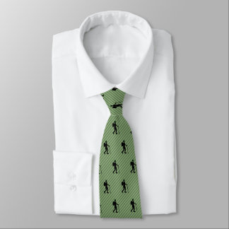Hiker Figure Silhouette on Diagonal Stripey Tie