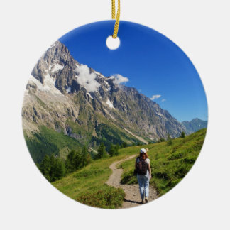 hiker in Ferret Valley, Italy Ceramic Ornament
