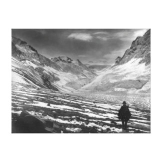 Hiker in the Aconcagua Valley in Chili Photograp Gallery Wrapped Canvas