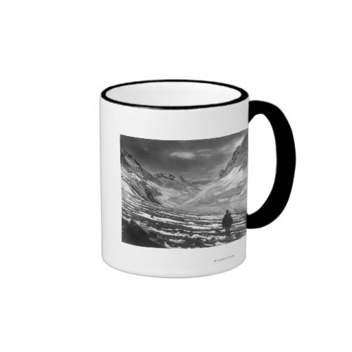 Hiker in the Aconcagua Valley in Chili Photograp Coffee Mugs