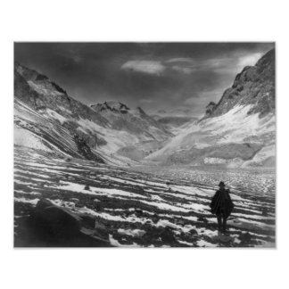 Hiker in the Aconcagua Valley in Chili Photograp Poster