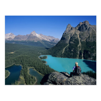 Hiker overlooking turquoise-colored Lake Postcard