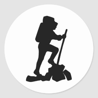 Hiker Silhouette Emblem Graphic Design Backpacker Classic Round Sticker