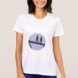 Hikers Crossing Single Log Bridge Oval Woodcut T-Shirt