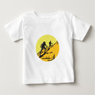 Hikers Hiking Up Steep Trail Circle Woodcut Baby T-Shirt