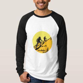 Hikers Hiking Up Steep Trail Circle Woodcut T-Shirt