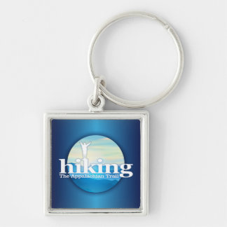 Hiking (Appalachian Trail) Silver-Colored Square Key Ring