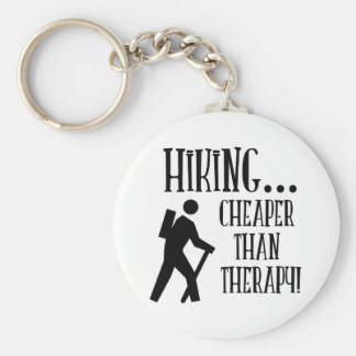 Hiking, Cheaper Than Therapy Basic Round Button Key Ring