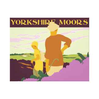 Hiking, fellwalking in the Yorkshire Moors retro Canvas Print