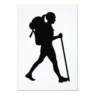 Hiking girl woman 9 cm x 13 cm invitation card