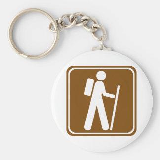 Hiking Highway Sign Basic Round Button Key Ring