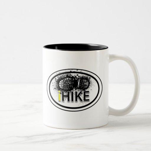 "Hiking ""iHIKE"" Oval Boot Print Tag Mug"