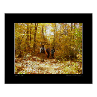 Hiking in a Golden Moment Poster