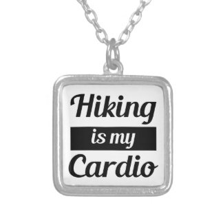 Hiking is My Cardio Silver Plated Necklace