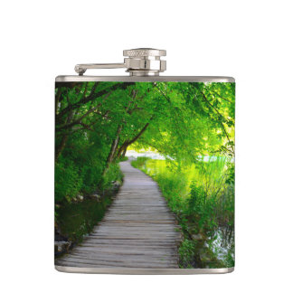 Hiking Path in Plitvice National Park in Croatia Flask